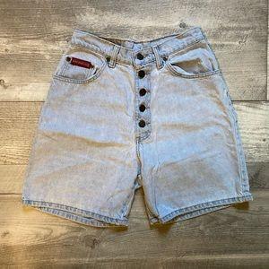 Vintage button up jean shorts